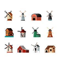 retro windmills set color buildings with blades vector image