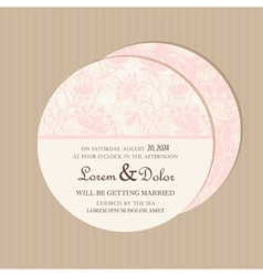 Round floral pink card vector
