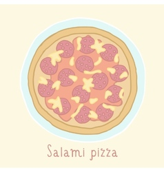 Salami pizza vector image