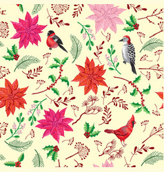 Seamless pattern christmas decoration with bird vector