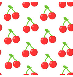 seamless pattern with cherry in flat style vector image
