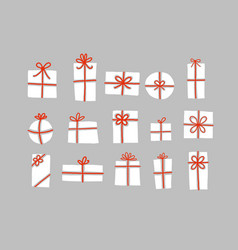 Set white christmas gift boxes with red ribbons vector