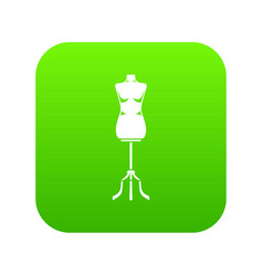 Sewing mannequin icon digital green vector