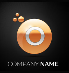 silver letter o logo gold dots splash and bubble vector image