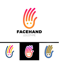 Smile line hand logotype or child care center vector