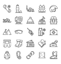 snowboarding equipment icon set outline style vector image