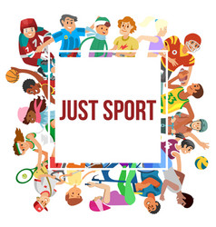 sport cartoon people frame of vector image
