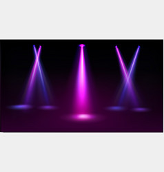 Stage illuminated blue and pink spotlights vector