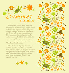 summer background with text framed by sea symbols vector image