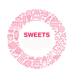 sweet food round poster with flat line icons vector image