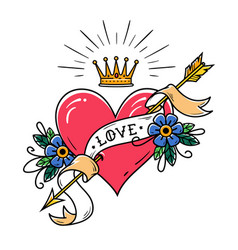 tattoo heart pierced by arrow with crown ribbon vector image