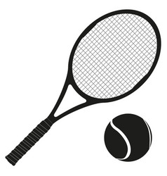 tennis rocket with a ball black icons vector image