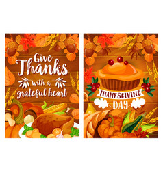Thanksgiving dinner poster set with turkey and pie vector