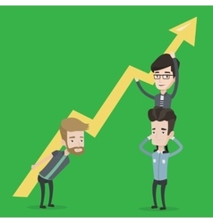 Three businessmen holding arrow going up vector image
