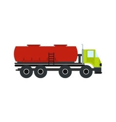 Truck with fuel tank flat icon vector image
