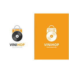 Vinyl and shop logo combination record and vector