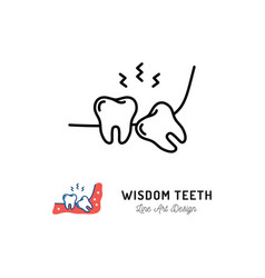 Wisdom teeth icon wisdom tooth or third molar vector