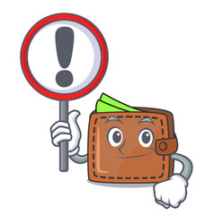 with sign wallet character cartoon style vector image