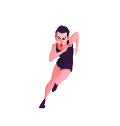 Woman with black hair and black sport suit running vector