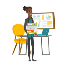 young african employee holding pile of folders vector image