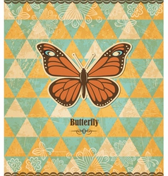 Butterfly vintage mosaic pattern vector image vector image
