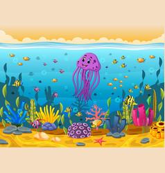 cute squid under the sea vector image