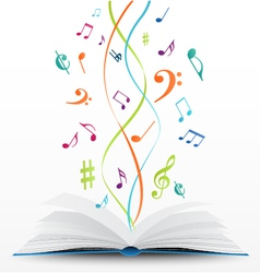 music notes on open book background vector image