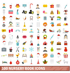 100 nursery book icons set flat style vector image