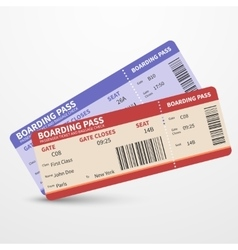 Airline boarding pass tickets travel vector
