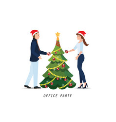 business people with red santa claus hats vector image