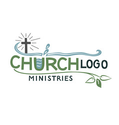 church logo with cross and leaves vector image vector image