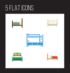 Flat bedroom set of bearings bed cot and other vector