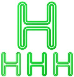 Green letter h logo design set vector image vector image