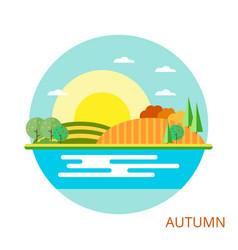 Nature - autumn landscape vector