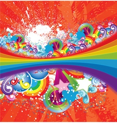 Rainbow with floral vector