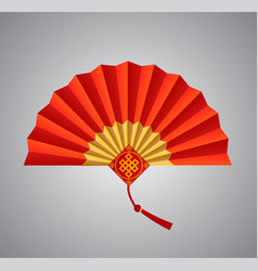 red chinese folding fan on white background vector image