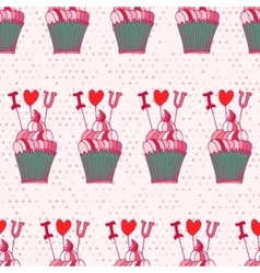 Seamless pattern made of hand drawn cupcakes vector image