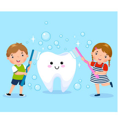 boy and girl brushing white tooth vector image vector image