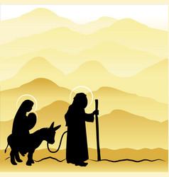 christmas nativity mary and joseph 4 vector image vector image