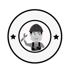 grayscale circular frame with engineer with helmet vector image