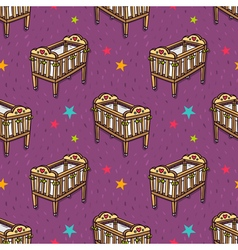 Seamless pattern with wooden decorated baby crib vector