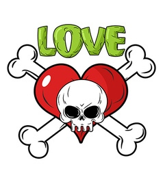 Skull and heart Love to death is an emblem for vector image