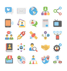 social connection flat icons vector image