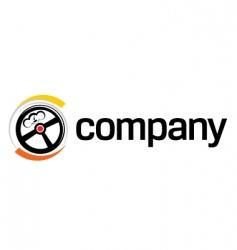 steering wheel logo vector image vector image
