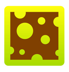 cheese slice sign brown icon at green vector image