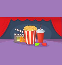 cinema movie horizontal banner cartoon style vector image vector image
