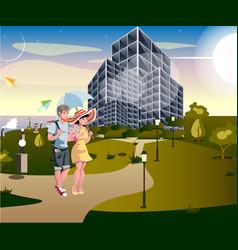 couple walking street urban vector image vector image