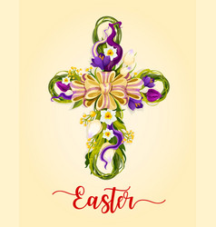 Easter cross made up of flowers greeting card vector
