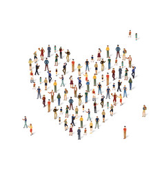 group of people in the shape of a heart vector image