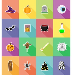 halloween flat icons 18 vector image vector image